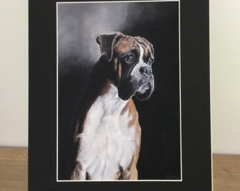 Boxer dog print, mounted print, Giclee dog print, gift art, personalised gift, unique gift, gift for him, anniversary gift, birthday gift,