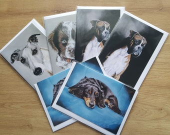 Mixed Multi pack cards, dog Greetings card, dog blank card, dog Birthday card, dog card, animal card for him, animal card for her,