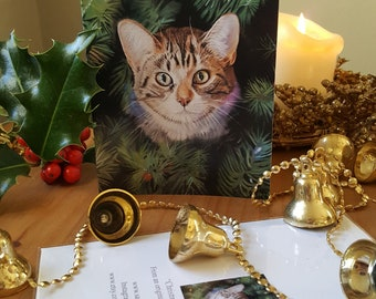 Kitten Christmas card, cat Christmas card, special Christmas card for him, special Christmas card for  her, loved one Christmas card