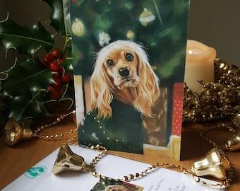 Cocker spaniel Christmas card, dog Christmas card, special Christmas card for him, special Christmas card for her