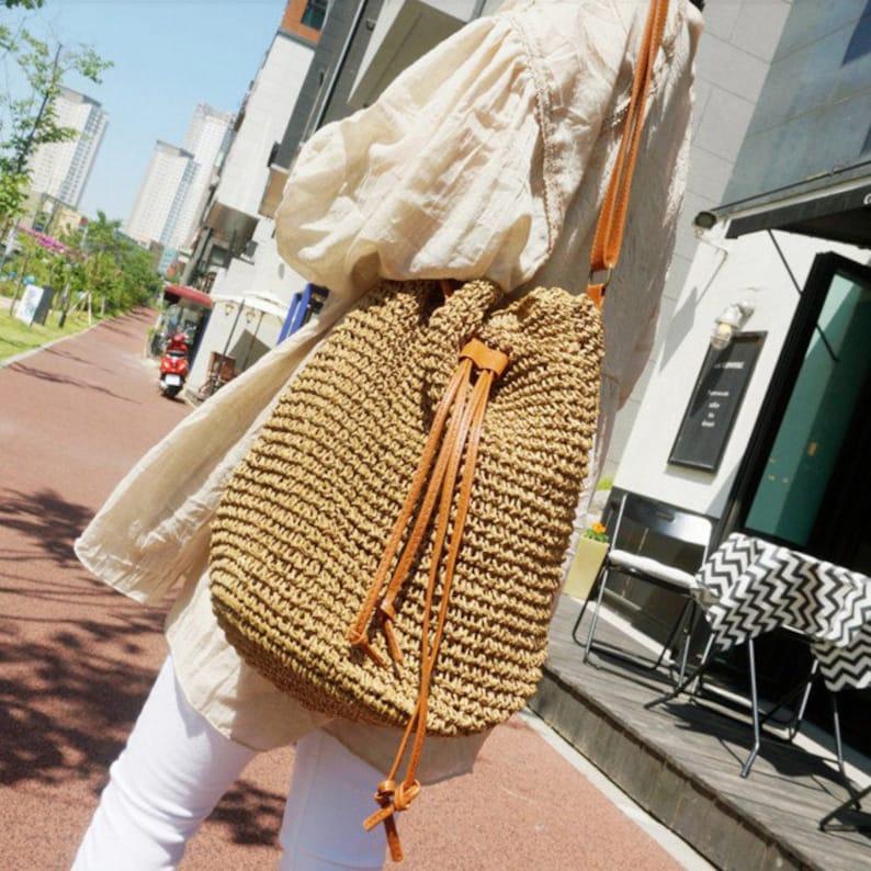 Summer Straw Bag Beach Bag Women Straw Bag handmade woven image 0