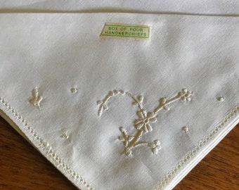 Set of 4 BRAND NEW Vintage Cream Cotton Handkerchiefs