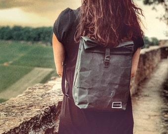 "Paper & Sons Rolltop Backpack Women and Men Backpack made of Paper, Water Repellent, Kraft Paper Backpack black 9l vegan, 13"" Laptop bag"