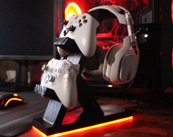 Xbox / Playstation / Nintendo - Custom Gaming Controller & Headset Stand with LED Lights