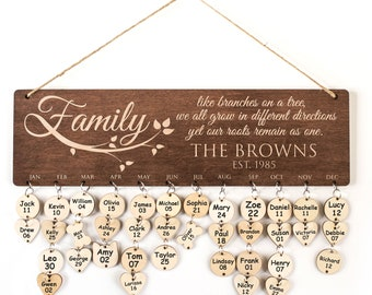 Wood Family Calendar Personalized Family Birthday Calendar Personalize Calendar for Wall Family Gifts  Wooden Board Calendar