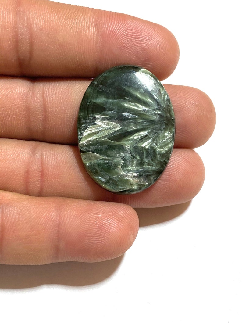40Ct 100/% Natural Flashy Seraphinite Cabochon Gemstone Oval Shape Cabochon...35x27x5mm Approx