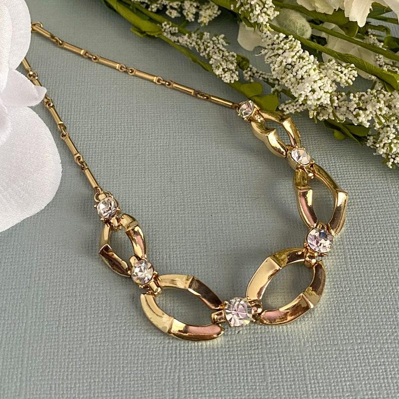 Gold Choker Rhinestone Necklace Bridal Statement Necklace,