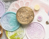 Floral tea cup wax seal stamp kit, spoon Wax stamp gift box , Wax seal stamp for journal, diy craft wax stamp