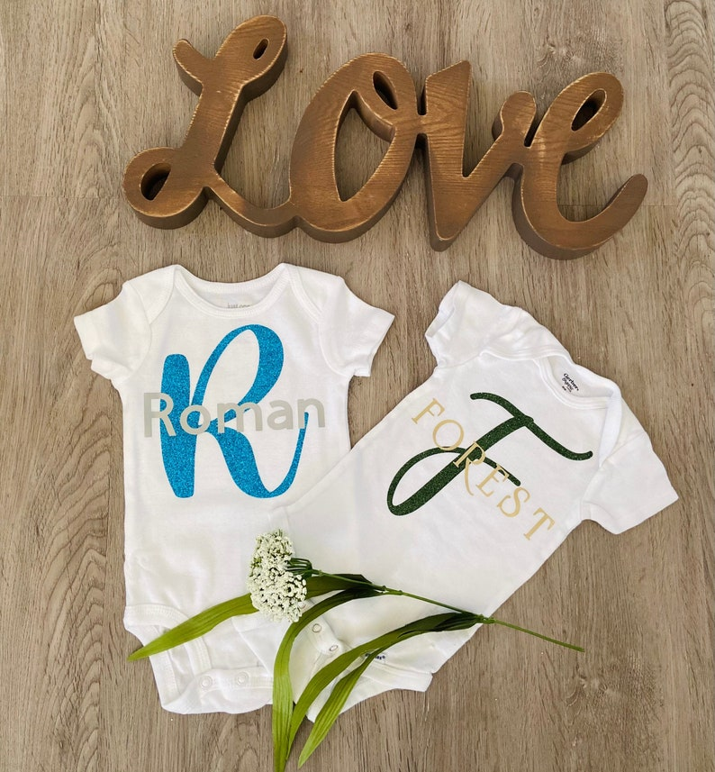 with snap buttons Personalized Baby Name Letter Bodysuit Custom Baby One Piece  Custom Made Letter and Name Baby Clothes  Personalized