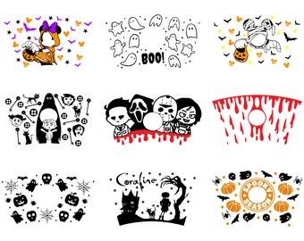 9 Full Wrap Halloween Starbucks Cup Svg Bundle, Halloween SVG Bundle, Starbucks svg Bundle, cup 24Oz, Pumpkin SVG, spooky SVG, cricut