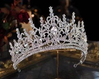 Victorian Silver Jewelry Crystal Bohemian Crown Bright Bride Tiara Gift Luxury Princess Crystal Bridal Wedding Bride Gift Minimalist Style