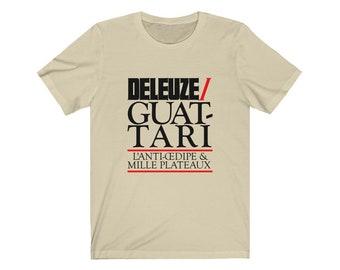 Deleuzian Century Deleuze and Guattari Philosophy T-shirt (Black/Red Print)