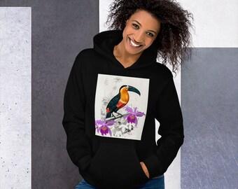 Yellow Toucan bolero Bird print longsleeve Birds print jacket Yellow Toucan hoodie shrug Toucan hoodie