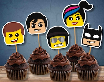 Edible Bricks cupcake cake toppers decorations inspired unofficial Lego