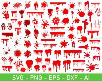 Blood Splatter svg Bundle, Bloody print svg, Blood Splash svg, Dripping blood svg,