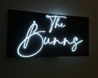 Custom Made Neon Sign | Neon Last Name Sign | EL Wire Sign | Wedding Decor | Personalized Wedding Sign