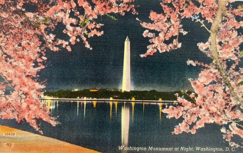 Washington DC Vintage Postcard Washington Monument at night