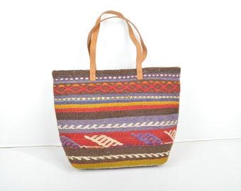 Shoulder or Tote Bag Kilim Style Bag Crossbody Bamboo Shape Handle  Ethnic Pattern Kilim Style Adjustable Strap