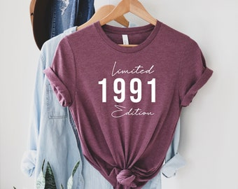 Limited Edition 1991 Birthday T-Shirt, 30 Years Old Shirt, 30th Birthday Shirt, 30th Birthday, 30th Birthday Gift For Women and Men
