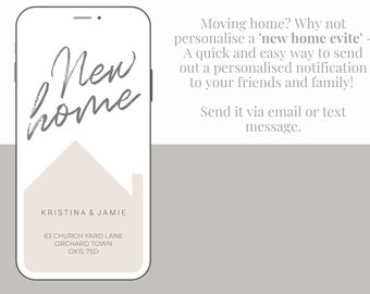 Moving Home | New Home | New Address Personalised Notification, e-vite, Announcement
