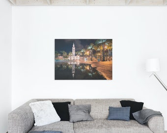 San Francisco Ferry Building Night Time Puddle Reflection Photo Print - Lustre or Glossy