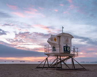 Bolsa Chica State Bech Lifeguard Tower 16 Sunset Photo Print - Lustre or Glossy