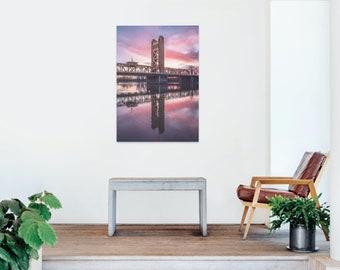 Burning Sunset Over Sacramento Tower Bridge Photo Print - Lustre or Glossy