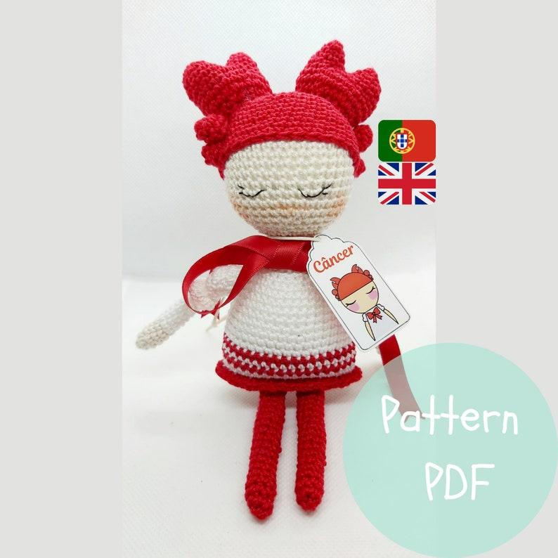 Digital Pattern Little Doll The Cancer Girl  Crochet image 0