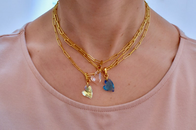 Small Gold Plated Sterling Silver Little Cupid Crystal Drop Necklace