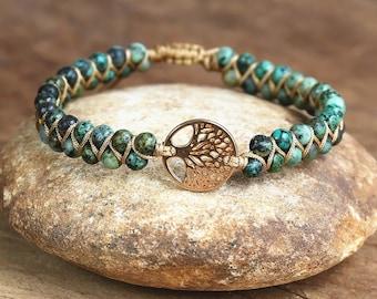 Ocean Jasper Bracelet with Tree of Life Charm