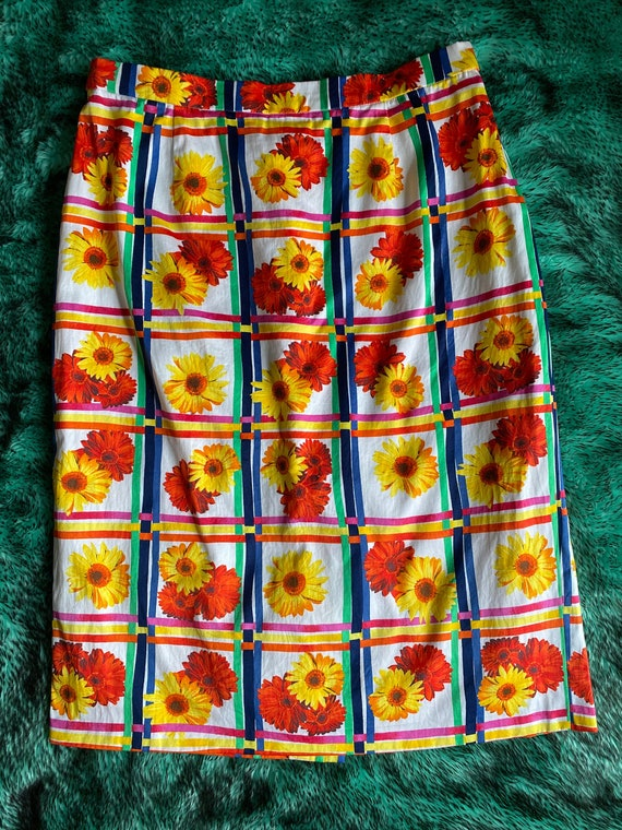 Vintage 1990s Escada floral plaid skirt - image 1
