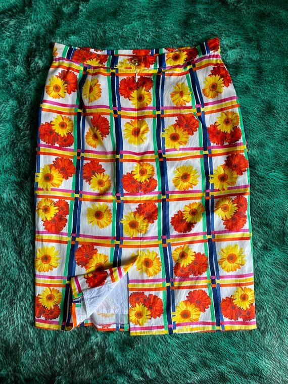 Vintage 1990s Escada floral plaid skirt - image 2
