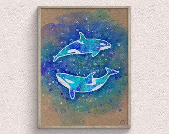 Orca Whales Couple Watercolor Art Print, Ocean Home Decor, Nautical Room Decor, Animal Prints, Kids Room Decor, Digital Download