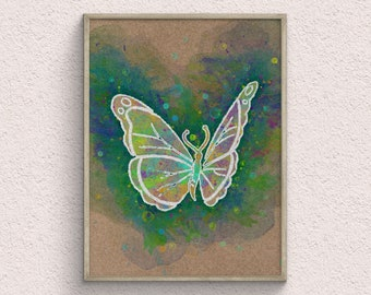Butterfly Watercolor Art Print, Watercolor Painting, Animal Home Decor, Moth Room Decor, Downloadable Prints