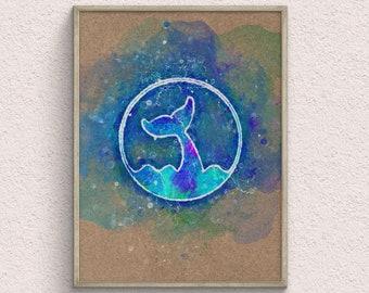 Whale Fin Watercolor Art Print, Animal Home Decor, Ocean Poster, Nautical Room Decor, Housewarming Gift, Printable Wall Art