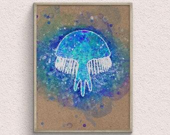 Jellyfish Watercolor Art Print, Nautical Poster, Animal Home Decor, Ocean Room Decor, Playroom Decoration, Downloadable Prints