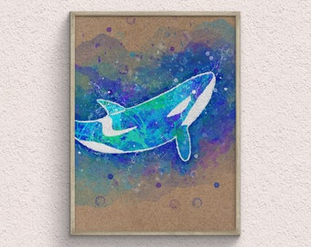 Orca Whale Watercolor Art Print, Nautical Decor, Animal Room Decor, Ocean Wall Decor, Kids Room Decor, Digital Print