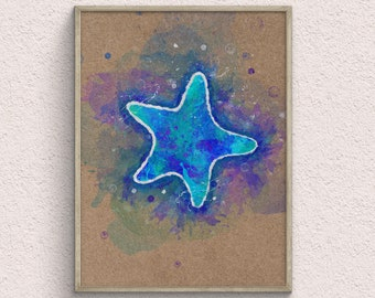 Starfish Watercolor Art Print, Nautical Home Decor, Beach Wall Decor, Animal Poster, Birthday Gifts, Digital Print
