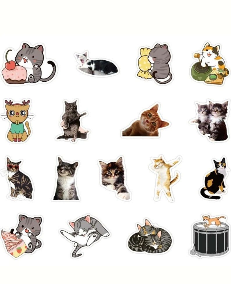 50 Piece Cat Stationary Stickers Series Journal Decorative Stickers Scrapbooking Stick Label Diary Album Stationery Retro Stamp Sticker