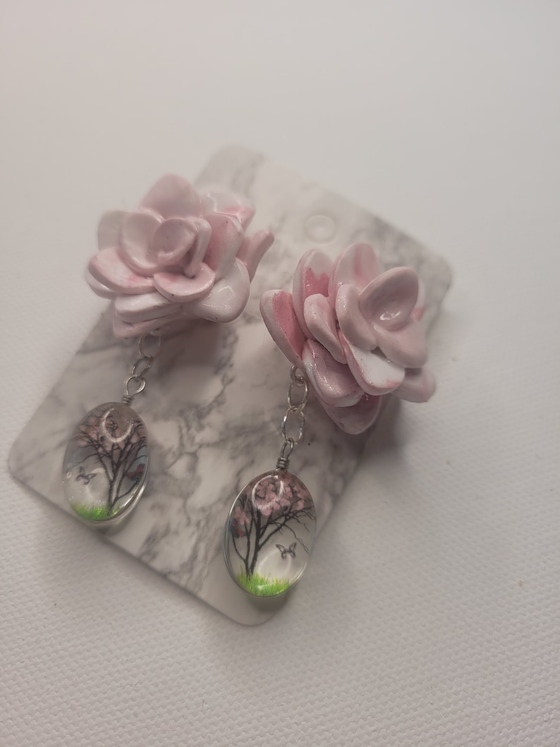 butterfly tree detail handmade gift pink flower polymer clay post earrings with cute dangle detail unique