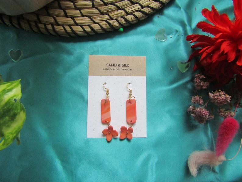 Flower Earrings Marble Earrings Orange Dangles Statement Earrings Gifts For Her Clay Earrings Funky Earrings Handmade Jewellery
