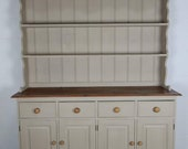 Painted Refurbished Kitchen Welsh Dresser Painted in Annie Slaon Country Grey.