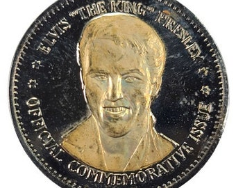 Elvis Presley Silver Plated and Gold Inlay Commemorative Medal