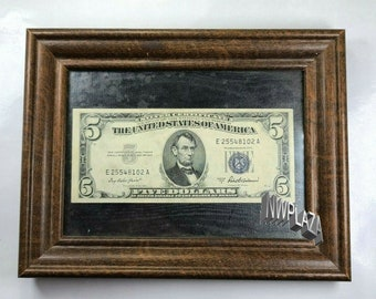 1953A 5 Dollar Silver Certificate Uncirculated in Wood Frame