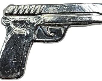 2 oz .999 Fine Silver Poured Gun Design Art Bar