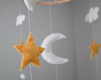 Gray Yellow and Blue Night Sky Suncatcher,Stained glass suncatcher,Art mobile,Stars suncatcher,Baby mobile,Constellation mobile