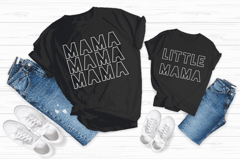Mommy and Me Graphic Ts Daughter Tshirt Little Ts Little Mama Kids Tshirt