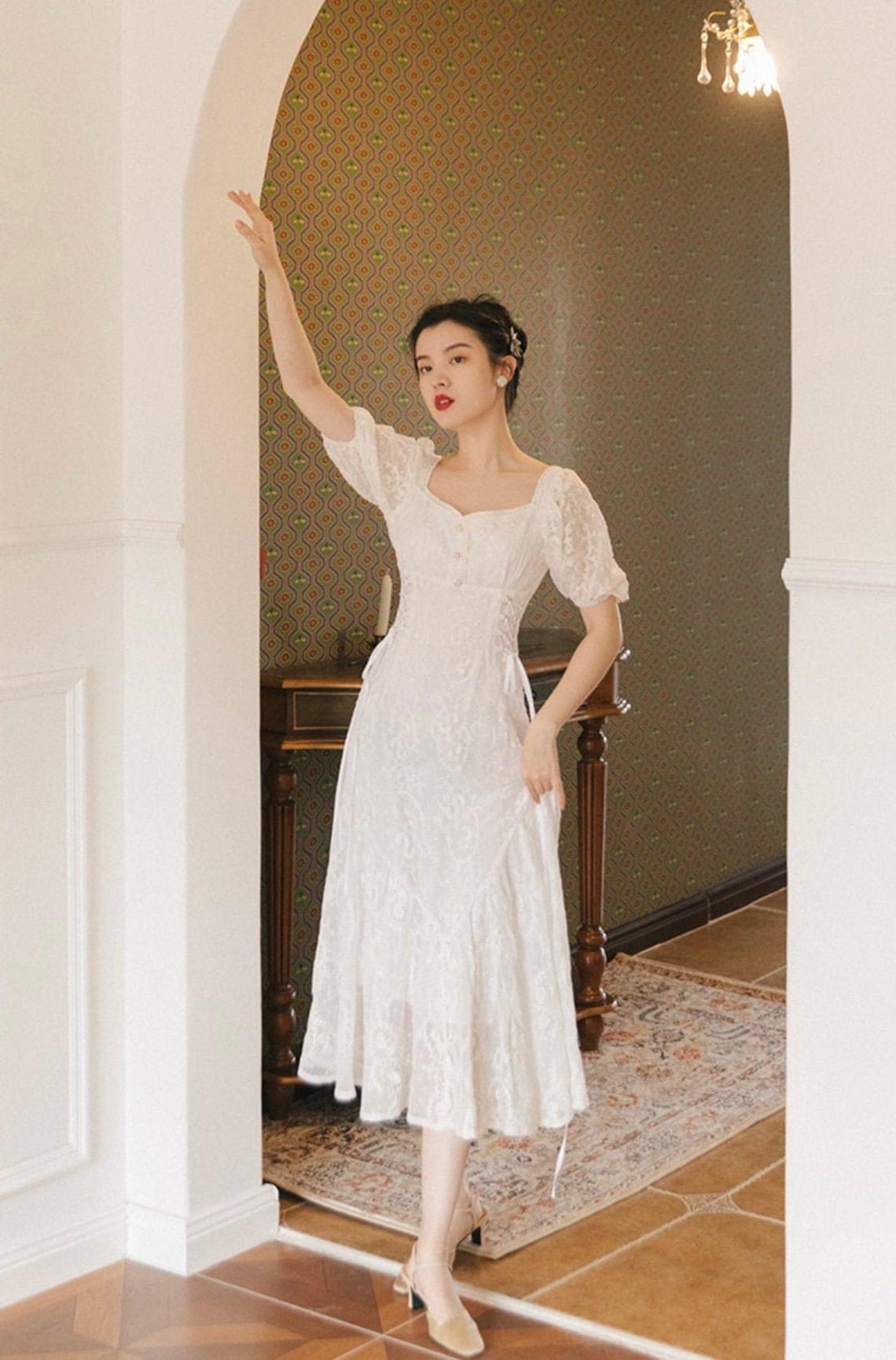 White Cottage Core Dress- Summer Wedding Guest Dress