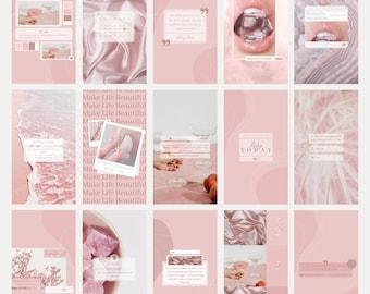100 Instagram Templates for Canva  Lash Instagram Post and Story  Blogger Social Media Templates  Pink Feed  Instagram Branding Kit  Girl