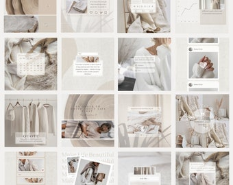 50 Instagram Post Templates  White Canva Templates  IG Engaging Template  Social Media Booster  Neutral Beauty Templates  Light Brand Feed